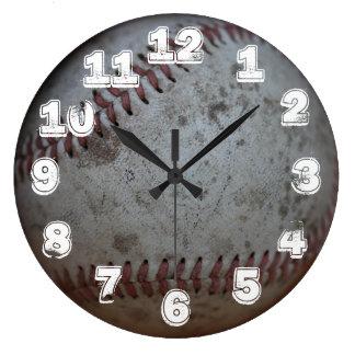 Béisbol con los números blancos reloj redondo grande