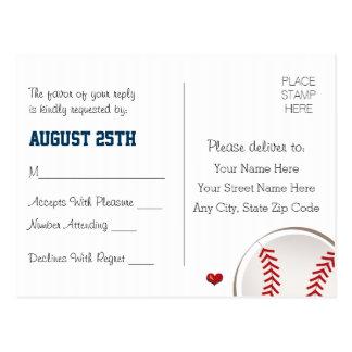 Béisbol con monograma que casa la postal de RSVP