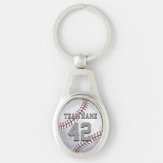 Béisbol con nombre y número llavero plateado ovalado