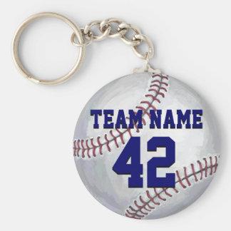 Béisbol con nombre y número llavero redondo tipo pin