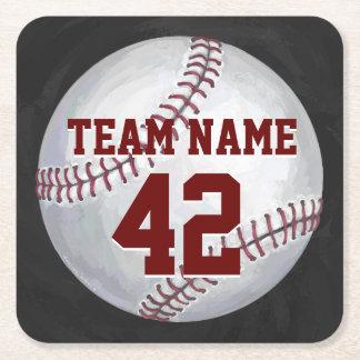 Béisbol con nombre y número posavasos desechable cuadrado