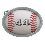 Béisbol con número personalizado hebilla de cinturon oval