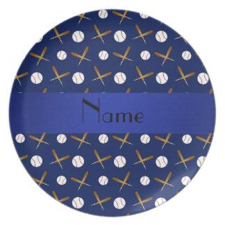 Béisbol conocido personalizado de los azules marin plato de comida
