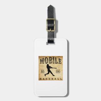 Béisbol de Alabama de 1886 móviles Etiquetas Maletas