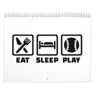 Béisbol de Eat Sleep Play Calendario De Pared