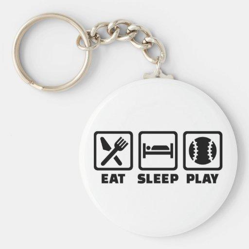 Béisbol de Eat Sleep Play Llaveros