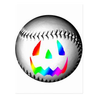 Béisbol de la cara del arco iris tarjeta postal