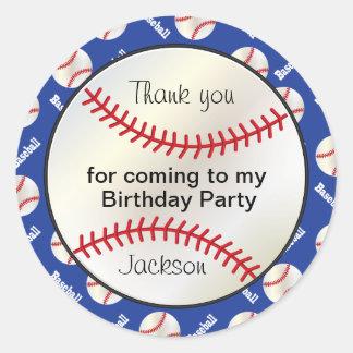 Béisbol de la fiesta de cumpleaños en azul marino pegatina redonda