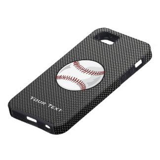 Béisbol de la mirada de la fibra de carbono iPhone 5 cárcasas
