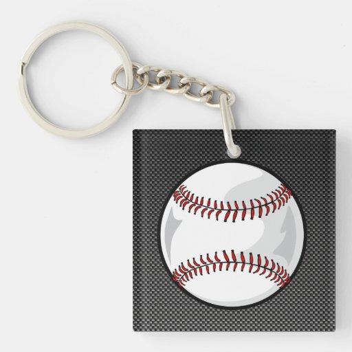 Béisbol de la mirada de la fibra de carbono llavero cuadrado acrílico a doble cara