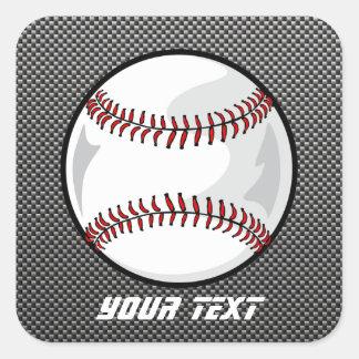 Béisbol de la mirada de la fibra de carbono pegatina cuadrada