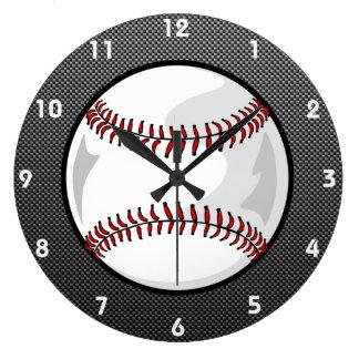 Béisbol de la mirada de la fibra de carbono relojes de pared