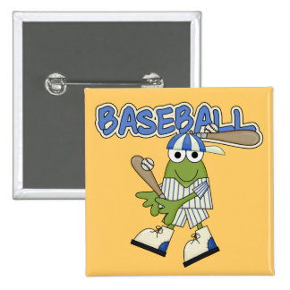 Béisbol de la rana para arriba en las camisetas y pins