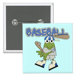 Béisbol de la rana para arriba en las camisetas y pin