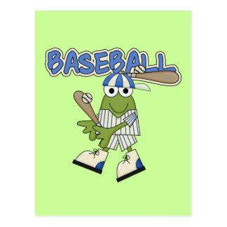 Béisbol de la rana para arriba en las camisetas y tarjeta postal