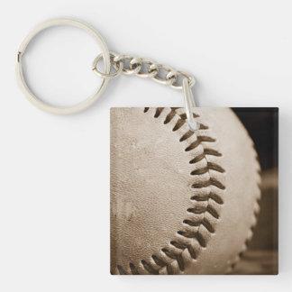 Béisbol de la sepia llavero cuadrado acrílico a doble cara