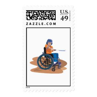 Béisbol de la silla de ruedas sellos