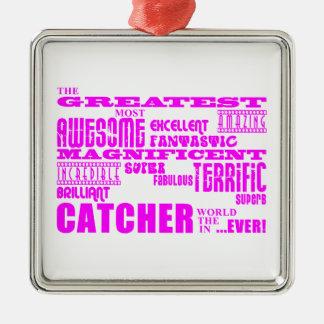 Béisbol de los chicas: Colector más grande rosado Adorno Cuadrado Plateado