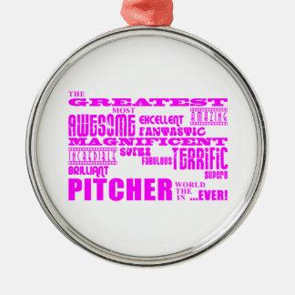 Béisbol de los chicas: Jarra más grande rosada Adorno Redondo Plateado