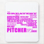 Béisbol de los chicas: Jarra más grande rosada Tapete De Ratón