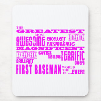 Béisbol de los chicas: Primera base más grande ros Mouse Pad