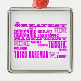 Béisbol de los chicas: Tercera base más grande Adorno Cuadrado Plateado