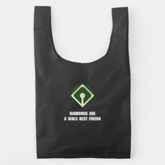 Béisbol de los diamantes bolsa reutilizable