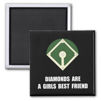 Béisbol de los diamantes imán cuadrado