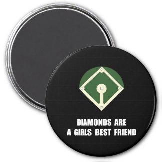 Béisbol de los diamantes imán redondo 7 cm