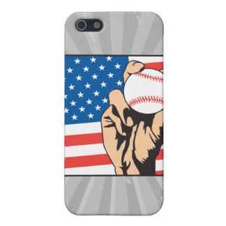 béisbol de los E.E.U.U. de la bandera americana iPhone 5 Carcasa