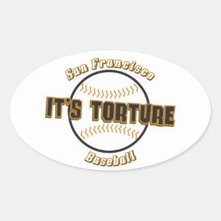 Béisbol de San Francisco es pegatina del óvalo de