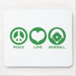 Béisbol del amor de la paz alfombrilla de ratón