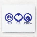Béisbol del amor de la paz alfombrilla de raton