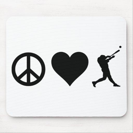 Béisbol del amor de la paz alfombrillas de ratón