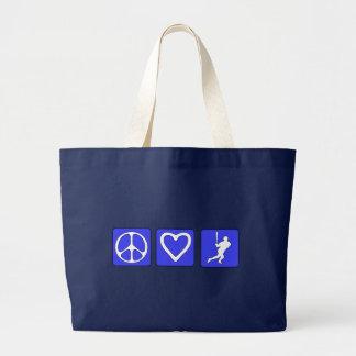 Béisbol del amor de la paz bolsa tela grande