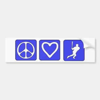 Béisbol del amor de la paz etiqueta de parachoque