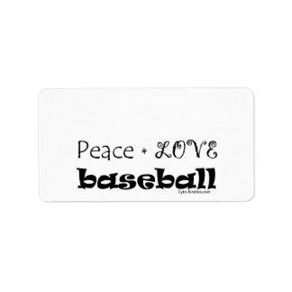 Béisbol del amor de la paz etiquetas de dirección