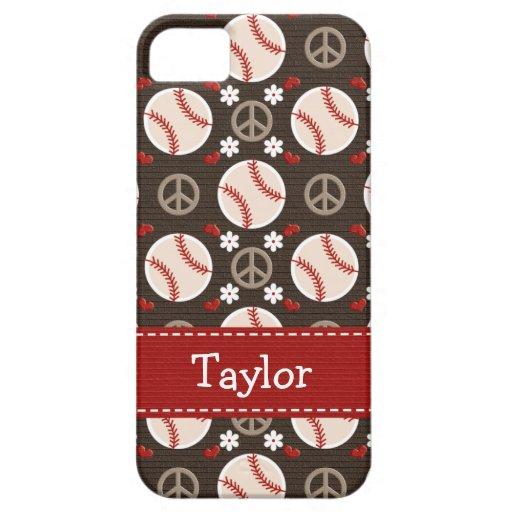 Béisbol del amor de la paz iPhone 5 Case-Mate coberturas