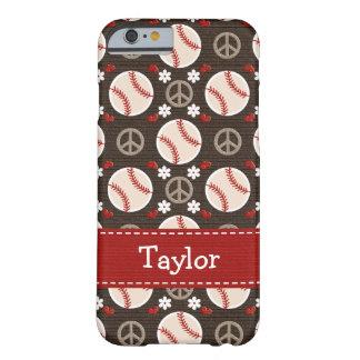 Béisbol del amor de la paz funda barely there iPhone 6
