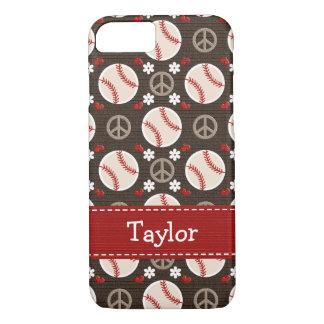 Béisbol del amor de la paz funda iPhone 7