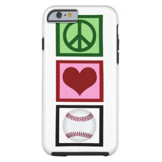 Béisbol del amor de la paz funda resistente iPhone 6