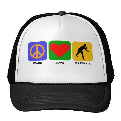 Béisbol del amor de la paz gorros bordados