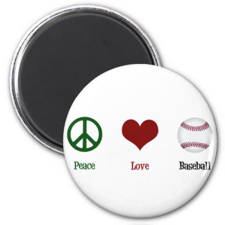 Béisbol del amor de la paz imán de frigorífico
