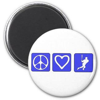 Béisbol del amor de la paz imán redondo 5 cm