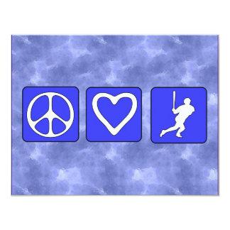 Béisbol del amor de la paz invitación 10,8 x 13,9 cm