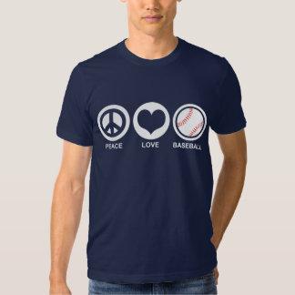 Béisbol del amor de la paz polera