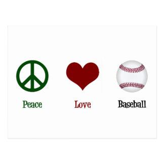 Béisbol del amor de la paz postales