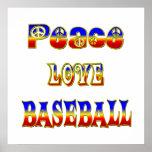Béisbol del amor de la paz poster