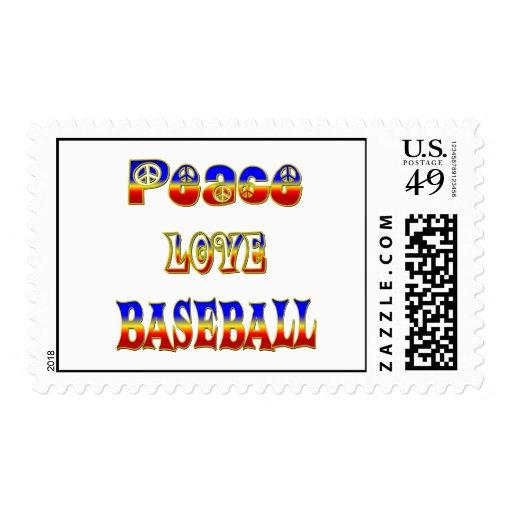 Béisbol del amor de la paz sello
