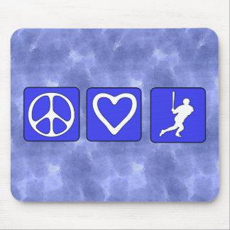 Béisbol del amor de la paz tapete de ratón